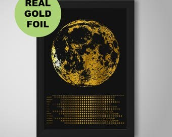 Moon Phase Calendar metallic gold foil, gold foil, metallic, moon phase, moon, 2018 calendar