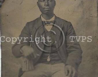Black Americana Tintype photograph Seated Man Pocket Watch
