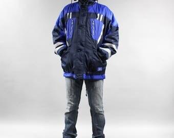 Vintage Unisex Hooded Ski Jacket Blue Black Windbreaker Shell Jacket . Oversized Snowboarding Coat Winter Sports Reflecting Bomber Jacket M