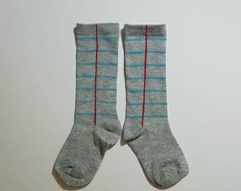 Notebook Paper Graphic© Toddler Crew Socks  in Gray - *Ready to Ship -