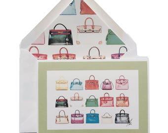 "Arm Candy Happy Birthday Card, Greeting Cards, Birkin, Kelly, Hermes, Lined Enevelope, Handbags, Purses, Fashionistas, Original Art, 5"" X 7"""