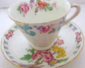 Antique Cup Saucer Bone China TUSCAN Fine English China Made in England Gorgeous Floral Design