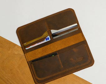 long leather wallet/personalized wallet/travel wallet/Mens leather wallet/cash envelope wallet/phone wallet/credit card holder