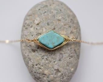 Turquoise Stone Choker Necklace