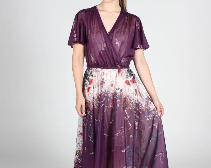Sheer Purple Floral Dress