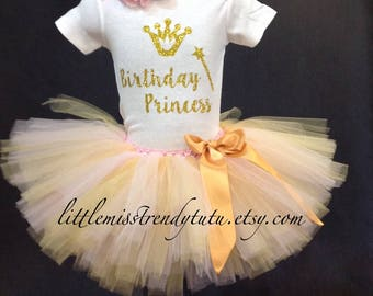 Pink Gold Birthday Outfit, First Birthday Tutu Set, Pink Birthday Tutu, 1st  Birthday Shirt Tutu Set, Girls Birthday Outfit, Girls Tutu Set