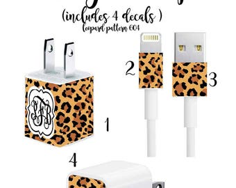 Iphone Charger Wrap, Monogram Iphone charger decal in Leopard Pattern 604 with Quatrefoil Monogram