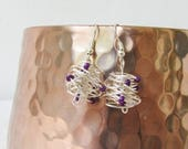 CLEARANCE Silver wire earrings, wire wrapped day earrings with purple seed beads, silver plated earring wires, handmade in the UK