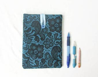 IPad Mini case, padded tablet cover sleeve, turquoise and black lace fabric, Ipad Mini cover, 8 inch tablet case, handmade in the UK