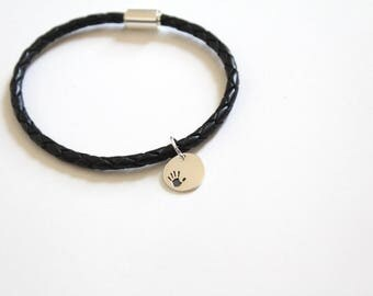 Leather Bracelet with Sterling Silver Handprint Charm, Leather Bracelet with Silver Handprint Pendant, Bracelet with Handprint Charm