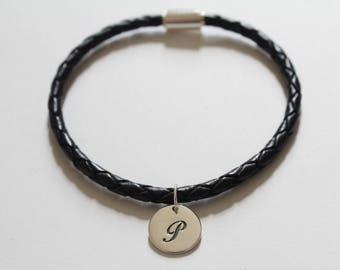 Leather Bracelet with Sterling Silver Cursive P Letter Charm, Bracelet with Silver Letter P Pendant, Initial P Charm Bracelet, P Bracelet