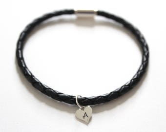 Leather Bracelet with Sterling Silver A Letter Heart Charm, Silver Tiny Stamped A Initial Heart Charm Bracelet, Letter A Charm Bracelet, A