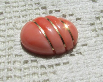 Vintage carved coral gemstone cabochon with 14 kt gold wire  salmon peach pink coral rare find 18 x 13 # 2