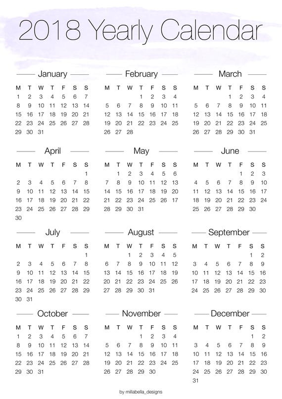 Calendar Overview : Printable yearly overview calendar