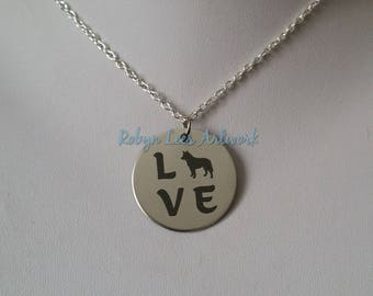 Love Engraved Stainless Steel Disc Necklace with Border Collie German Shepherd Style Dog Silhouette on Silver Chain or Black Faux Suede Cord