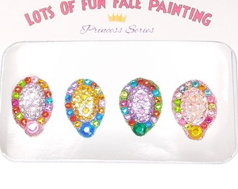 DIY Princess Party Favors Face Gems Bling Rainbow Jewels Fabulous Gorgeous Glitter Fairy Dust Sticker back bindhi body bling 4 pieces