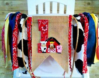 Farm Animal High Chair Banner, Fabric Banner,  Barnyard HighChair Banner, 1st Birthday Decor, Horse, Pig, Cow, Barn Banner, Barn Garland