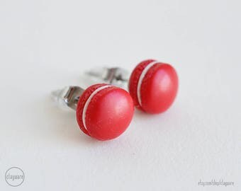 Red Velvet French Macaron Stud Earrings - Faux Food Earrings - Polymer Clay Miniature Food Jewelry