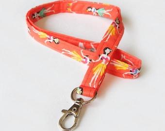 Hula Girl Lanyard / Hawaii Keychain / Luau / Hawaiian / Key Lanyard / ID Badge Holder / Hawaii Accessories / Hula Lanyard / Pineapples