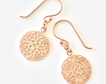 Gift Rose Gold Earrings - Bridesmaid Gift Rose Gold Earrings - Rose Gold Wedding Shower - Blush Bridesmaid Gift - Simple Rose Gold Jewelry