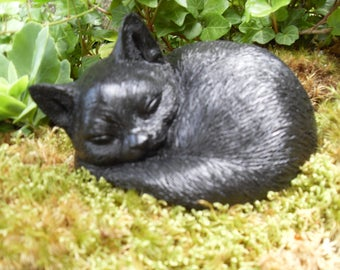 Black Cat Statue,Black Cat Memorial Statue,Garden Cat Statue,Sleeping Cat  Sculpture