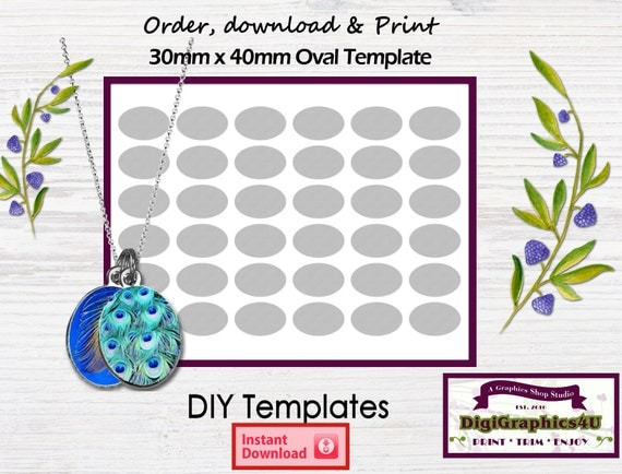 30mm X 40mm Oval Shaped Jewelry DIY Printable Template