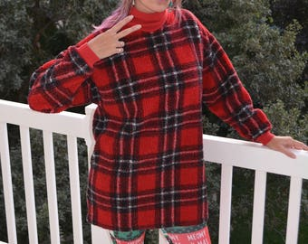 Large (runs big), Ugly Christmas Sweater, wooly fleece, women, ugly sweater party, vintage, pre-worn, plaid
