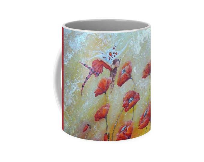 Fairy art mug,  flower fairy coffee mug, poppy fairy cup, original painting by Nancy Quiaoit