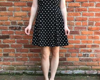 90's Roberta Black and White Polka Dot Strappy Mini Dress with Sweetheart Neckline Size S