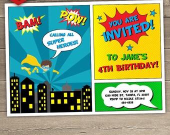 Superhero Birthday Invitation, Superhero Invitation, Superhero Invite, Calling All Superheroes