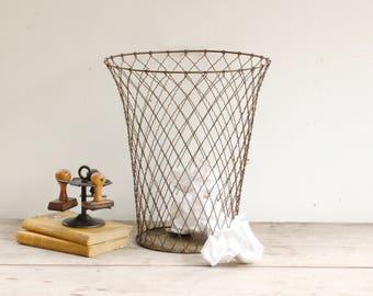 Corbeille à papiers métallique, poubelle de bureau, corbeille fils de métal, industriel  French vintage