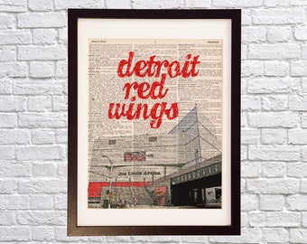 Detroit Red Wings Dictionary Art Print - Joe Louis Arena, Hockeytown - Print on Vintage Dictionary Paper - Hockey Art - Gift For Him