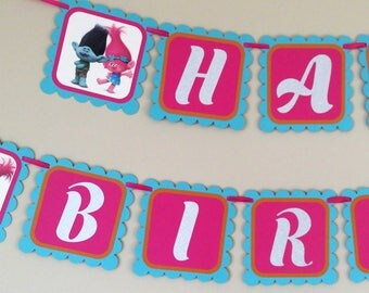 Trolls Birthday Banner - Trolls Banner - Trolls Birthday sign - Birthday Banner - Handmade Banner - Trolls Name Banner - Trolls party supply