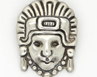Large Mexican 1930s Sterling Silver Brooch Mystic Aztec / Mayan Face Mask, Collectible Statement Jewelry Artisan Made by M. Velasquez Circle