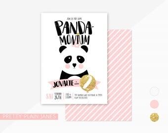 Panda Birthday Party Invitation | Panda-Monium Birthday Party Invite | Printable Digital Panda Invite | Panda Bear 1st Birthday Invitation