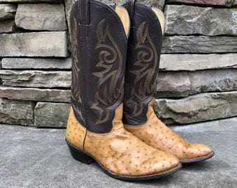 Vintage NOCONA Ostrich Boots Vtg Exotic Leather Cowboy Boots Made in USA Made in USA Men's Size 9 1/2