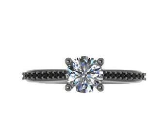 Black Diamond Engagement Ring Forever One Moissanite Marriage Ring 14K Black Gold Jewelry Custom Jewelry Unique Bridal Ring Gem Ring - V1073