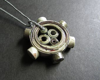 """Paper Gear Necklace, Engineering Necklace, Artisan Paper Jewelry, First Anniversary Gift of Paper for Him or Her """"Full Steam Ahead #2"""""""