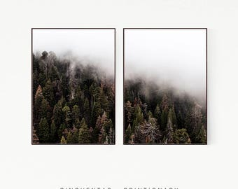Set of 2 Prints Pine Trees Mountains Brown Red Green Wall Decor Nordic Print Poster Scandinavian Landscape Wild Nature Forest Misty 1009