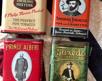 TOBACCO TINS / Set of four (4) vintage tins / one tin has Tax Stamps affixed