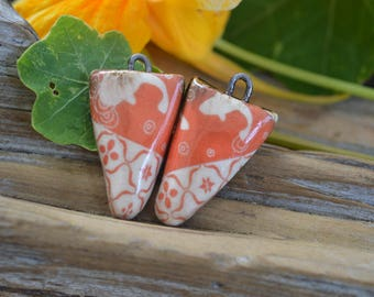 Asian Flavor- Handmade Porcelain  Bead Pair