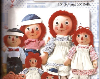 """Raggedy Ann and Andy Classic Doll Pattern / Simplicity 9447 / 15"""" 26"""" and 36"""" dolls / UNCUT"""