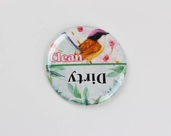 """3.5"""" dishwasher magnet,magnet, clean / dirty dishwasher magnet,bird lover magnet,kitchen gift for bird lover"""
