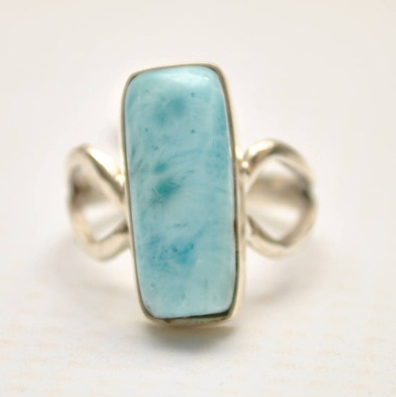 Sterling Silver Larimar Rectangle Ring Sz  #9353