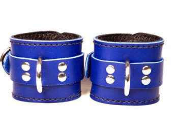 Blue Leather Locking Cuffs with Black Leather Lining - Pair of Wrist Cuffs (or) Ankle Cuffs