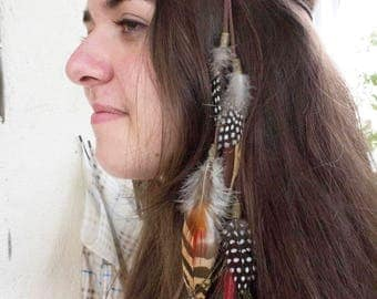 "Headband-Jewel of hair feathers ""Akuti"""