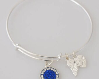AA1030B Navy Blue and Clear Pave Crystal Adjustable Wire Bracelet w Small Angel Wing & Heart Charms ~ Silver Plated