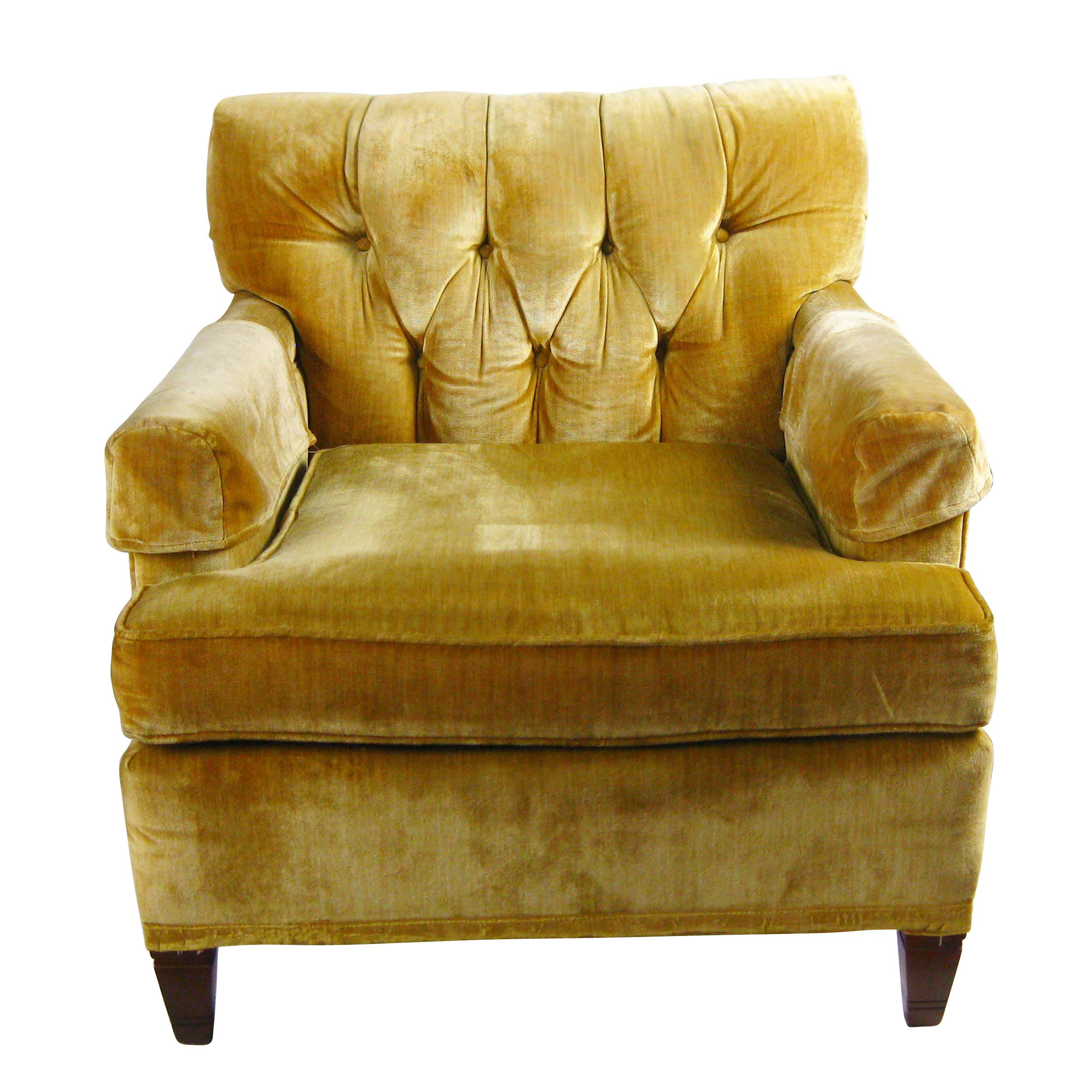 Furniture Corp: Vintage North Hickory Furniture Company Yellow Gold Tufted