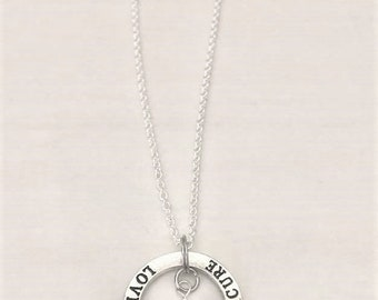 Purple Awareness Hope Love Cure Crystal Necklace  Pancreatic Cancer Alzheimers Dementia Crohns You Select Chain Length