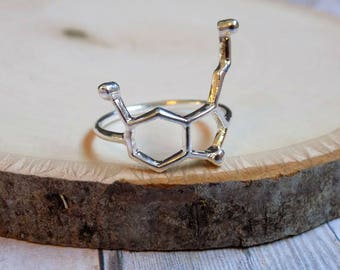 Serotonin Ring, Silver Serotonin Molecule Ring, Science Jewelry, Chemistry Jewelry, Geek, Gifts for her